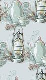 Teapot bożych narodzeń nowego roku błękita lampowych menchii bezszwowa deseniowa farba textured wektor royalty ilustracja