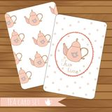 Teapot cards events, tea party, vector on wood. Background. Use for invitations.Place for text.  Teapot hand drawn pattern Royalty Free Stock Photos
