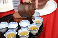 Teapot with Chinese tea. A glass teapot with Chinese tea Stock Photos