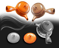 Teapot Chiness culture three colors. Teapot culture retro style  have pot three color at coffee shop illustration computer graphic design Royalty Free Stock Photo