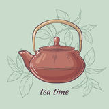 Teapot on color background. Vector Illustration with brown teapot on color  background Royalty Free Stock Image
