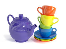 Teapot and colorful cups on white background. 3d rendering of teapot and colorful cups on white background royalty free illustration