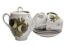 Teapot com três copos Foto de Stock Royalty Free
