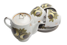 Teapot com três copos Fotografia de Stock