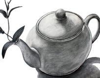 Teapot com uma flor Foto de Stock Royalty Free