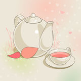 Teapot and cup Stock Images
