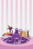 Teapot and cup. A vector illustration of a teapot and cup set on a table Stock Photography