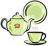 Teapot, Cup and Dish (Vector Illustration) Stock Photo