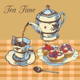 Teapot and cup english tea Royalty Free Stock Image