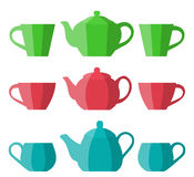 Teapot and cup in flat design. Vector icon. Royalty Free Stock Photos