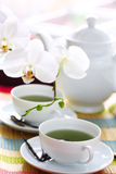 Teapot and a cup of green tea. Stock Image