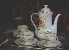 Teapot with cup. Luxuary teapot in vintage style. royalty free stock photography