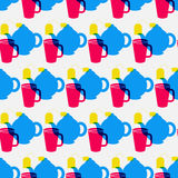 Teapot cup pattern. Teapot pattern including seamless sample in swatch panel Stock Photo