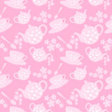 Teapot and cup pattern Royalty Free Stock Images