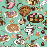 Teapot and cup seamless pattern Stock Photo
