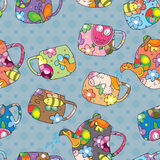 Teapot Cup Seamless Pattern_eps Stock Image