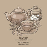 Teapot with cup and sugar bowl. Illustration with cup of tea, teapot and sugar bowl on brown background Royalty Free Stock Photography