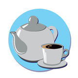 Teapot and cup of tea or coffee. Gray teapot and cup of tea or coffee.Vector illustration Vector Illustration