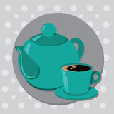 Teapot and cup of tea or coffee. Vector illustration Stock Illustration