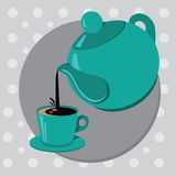Teapot and cup of tea or coffee. Vector illustration Vector Illustration