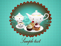 Teapot, Cup of Tea and Cupcakes on Background. Stock Image