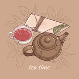 Teapot with cup of tea. Illustration with cup of tea with teapot and dry tea on brown background Royalty Free Stock Photos