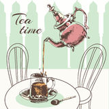Teapot and cup tea time poster Stock Photo