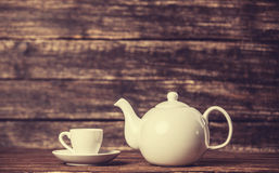 Teapot and cup of tea royalty free stock image