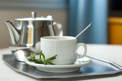 Teapot and a cup on a tray Royalty Free Stock Images
