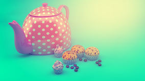 Teapot and cupcakes Stock Image