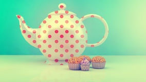 Teapot and cupcakes Stock Images