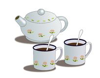 Teapot and Cups. A teapot decorated with flowers and two cups Royalty Free Stock Image