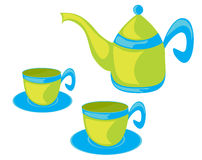 Teapot and cups. Stock Image