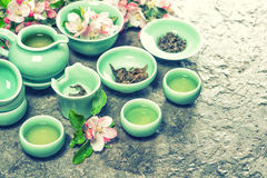 Teapot, cups and apple blossoms. Tea ceremony. Retro style Royalty Free Stock Image