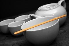 Teapot, Cups and Bowl Royalty Free Stock Image