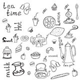 Teapot, cups, cakes, lemon and words. Vector elements with  tea cups ,teapots and cakes  in grafic style Stock Photography