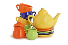 Teapot and cups colorful Royalty Free Stock Photos