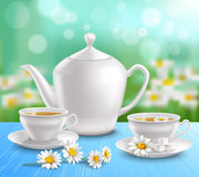 Teapot And Cups Composition Royalty Free Stock Images