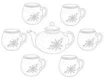 Teapot and cups, contours Stock Photos