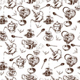Teapot and cups seamless pattern Royalty Free Stock Photography
