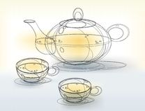 Teapot and Cups Sketch. Sketch of a teapot and teacups on a pale yellow and gray abstract background stock illustration