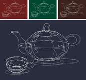 Teapot and Cups Sketch. For the design vector illustration