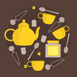 Teapot, cups and spoons in round frame. Vector illustration. Royalty Free Stock Image