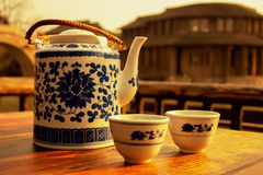 The teapot and cups Stock Images