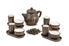 Teapot and cups for tea ceremony Stock Photos