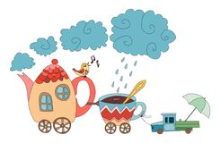 Teapot and cups train. Teapot with bird and cup with car. Cartoon train. Cute fairy vector illustration Stock Photo