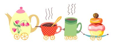 Teapot and cups train. Royalty Free Stock Photos