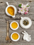 Teapot and cups. Utensils for traditional chinese tea ceremony Royalty Free Stock Photos