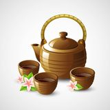 Teapot and cups. Vector illustration Royalty Free Stock Photography