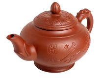 Teapot da argila isolado no branco Foto de Stock